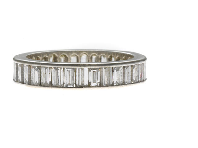 A baguette diamond eternity band in platinum