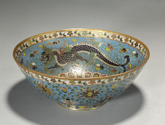 A cloisonné enameled metal bowl