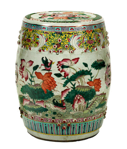 A Porcelain garden stool with famille rose enamels