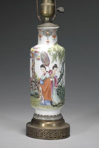 A polychrome enameled porcelain vase