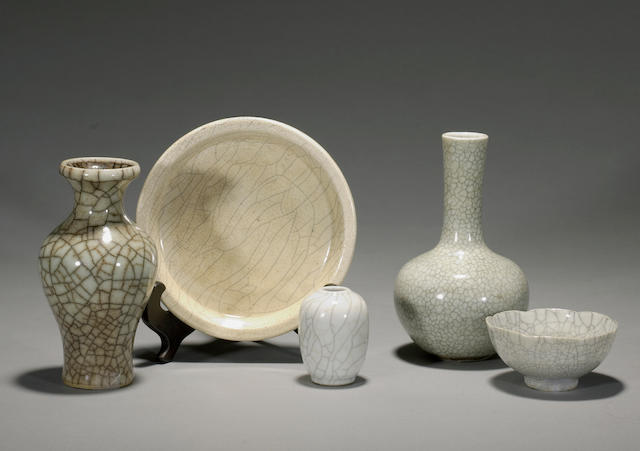 A group of five crackle-glazed porcelain vessels