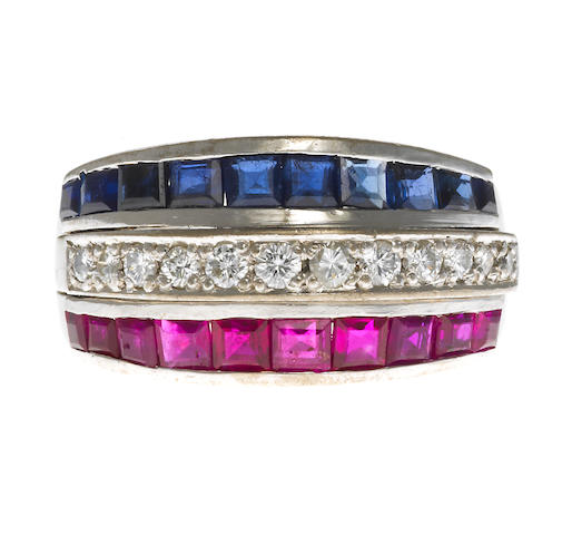 A sapphire, ruby and diamond three-row band