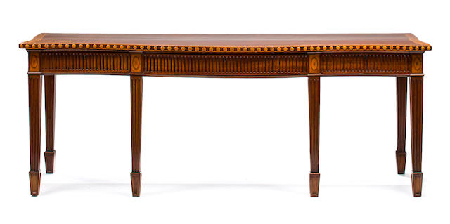 A George III inlaid mahogany, satinwood and penwork serving table late 18th/early 19th century