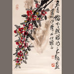 Chen Dayu  (1912-2001)  Flower and Calligraphy