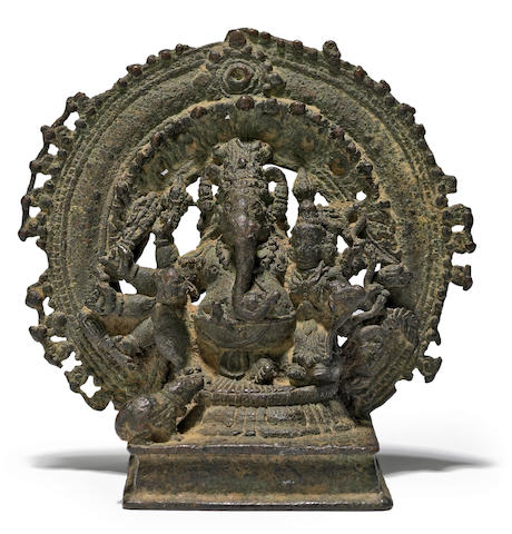 A copper alloy Ganesha enthroned Karnataka, 12th-14th century
