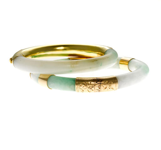 Two jadeite jade bangle bracelets