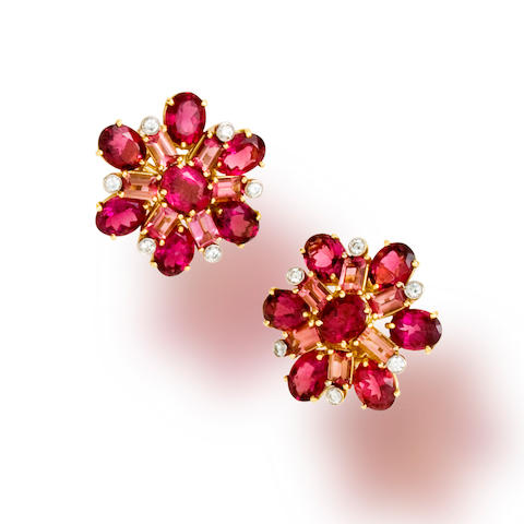 A pair of pink tourmaline and diamond earclips, Tony Duquette