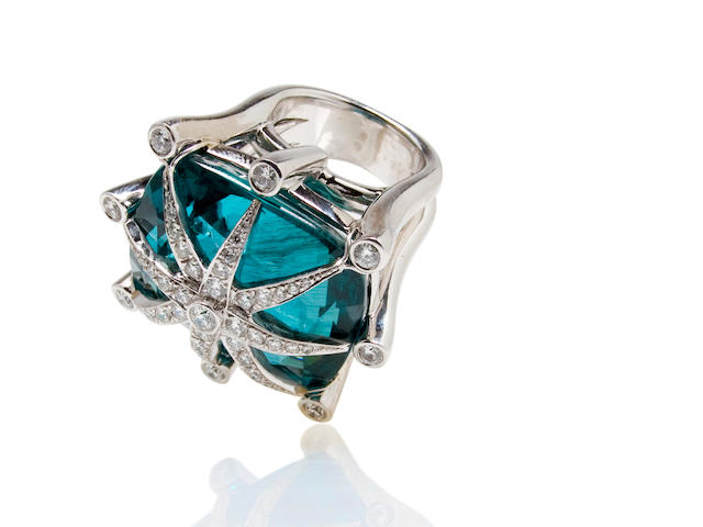 An apatite and diamond ring, Tony Duquette