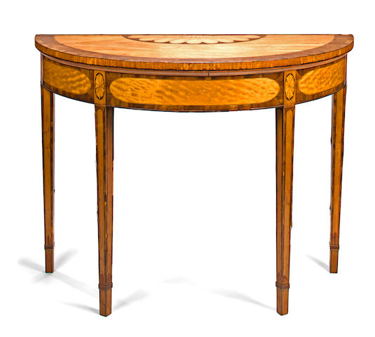 A George III mahogany and satinwood marquetry demi-lune console table fourth quarter 18th century