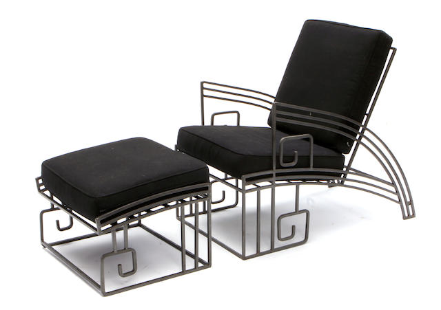 An Art Deco style wrought iron chair and ottoman