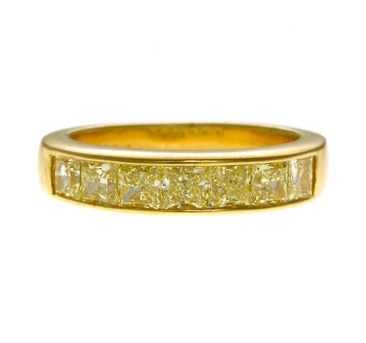 princess cut yellow diamond band