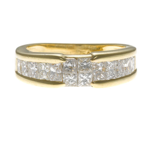 diamond and gold band, set with princess cut diamonds