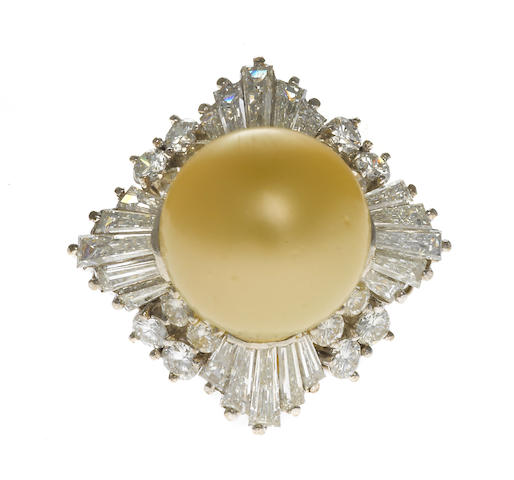 pearl and diamond ring, ballerina mount with baguettes and rounds