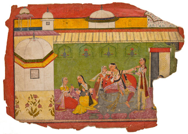 Illustration to the 'third' Rasamanjari of Bhanu Dutta: The intoxicated courtesan Attributed to Devidasa<BR />Opaque watercolor, gold, silver and beetle wing cases on paper, Basohli, Circa 1695