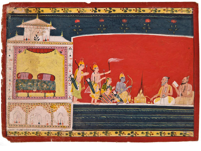 Illustration to a Ramayana series: Rama, Sita and Laskhmana confer with priests Opaque watercolor on paper, Malwa, Circa 1680