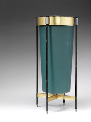 A Waste Paper Basket attributed to Gio Ponti, circa 1950  brass, enamelled metal and vinyl  Height: 26 3/4 in. 68 cm.