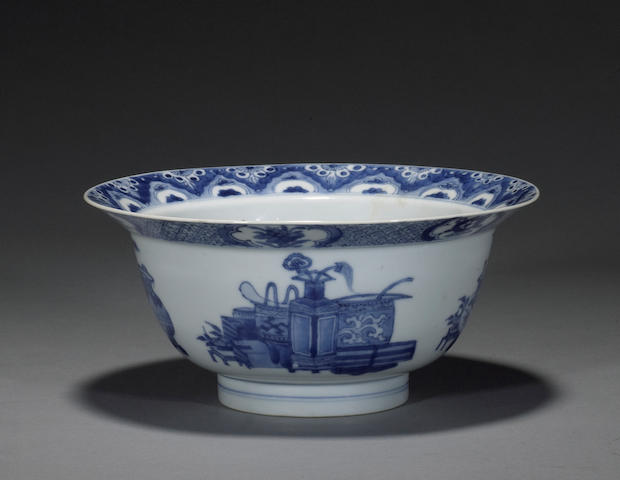 A blue and white export porcelain deep bowl Kangxi mark and period