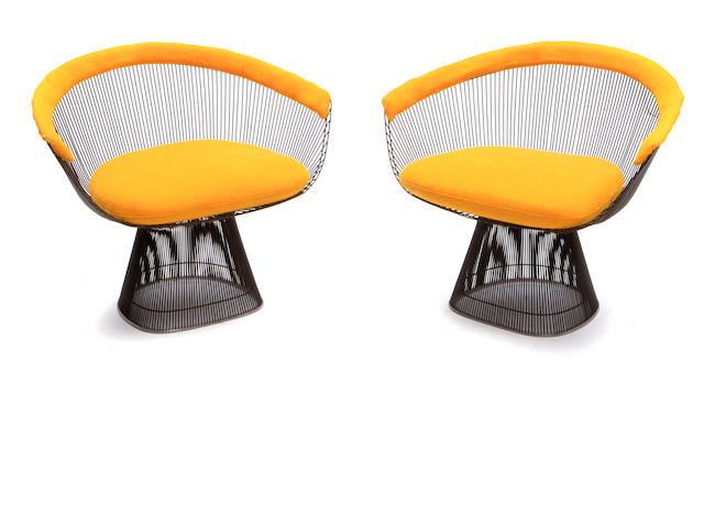 A pair of Warren Platner lounge chairs