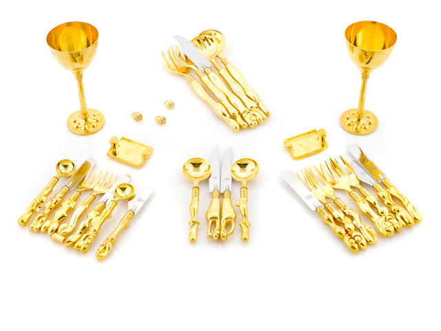 A set of Miguel Berrocal gilt bronze flatware together with a set of four Berrocal goblets