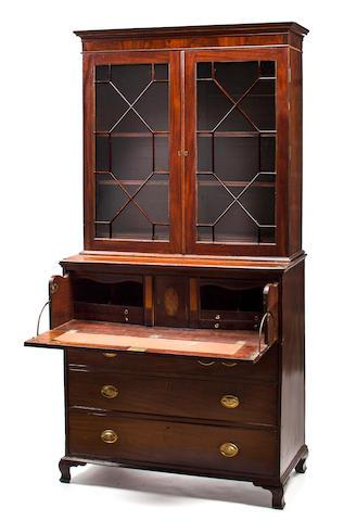 A George III mahogany secretary bookcase, 18th century