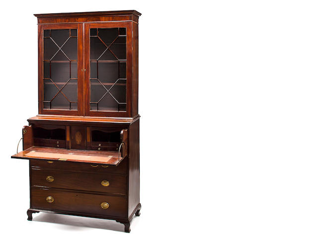 A George III mahogany secretary bookcase, 18th century