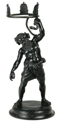 A patinated bronze figure of Silenus probably Italy, late 19th century