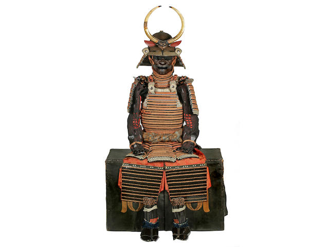 A suit of armor laced in orange Helmet by Yoshisada, Muromachi period (16th century), armor 18th century