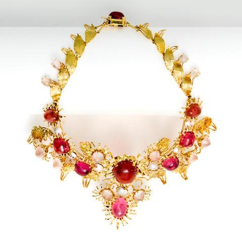 A pink tourmaline, rose quartz and mabé cultured pearl necklace, Tony Duquette