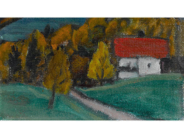 Gabriele Münter (German, 1877-1962), AUTHENTICATING Blick aufs gebirge 9 1/16 x 6 11/16in (23 x 17cm)