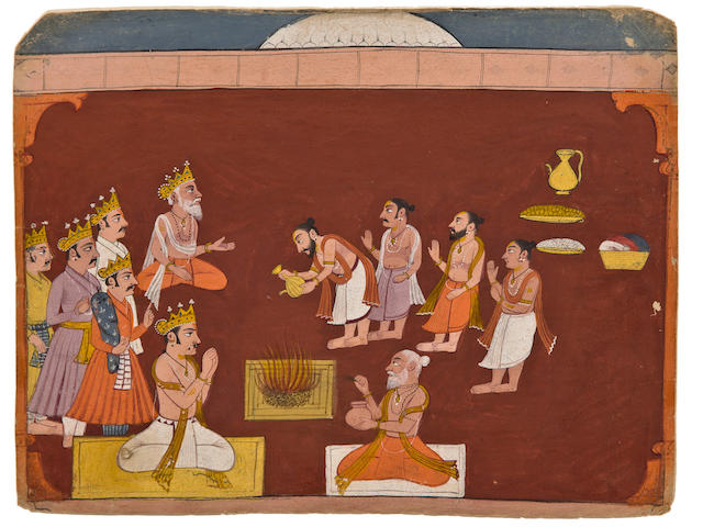 Two Illustrations from a Mahabharata series Opaque watercolor on paper, Bilaspur, late 17th century