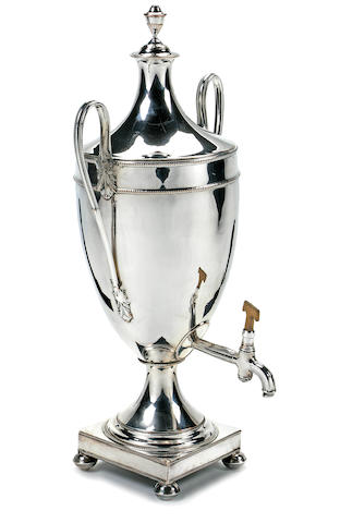 A George III Sheffield plated hot water urn<BR />circa 1800
