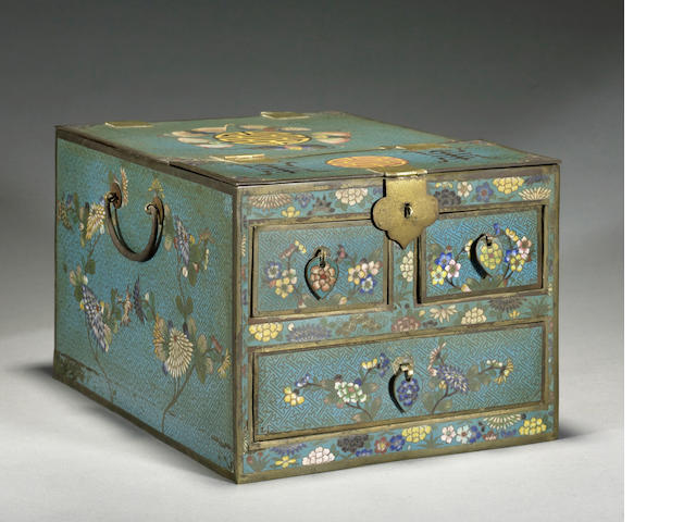 A cloisonné enameled metal vanity case Late Qing/Republic period