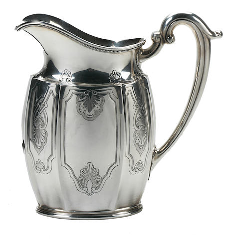 An American sterling silver large water pitcher L. Huemer, mid-20th century