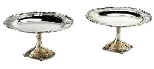 A pair of American sterling silver circular pedestal compotes L. Huemer, mid-20th century