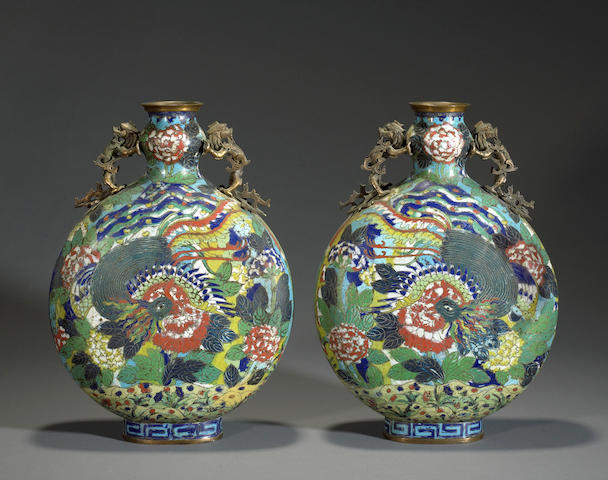 A pair of cloisonne enameled moon flasks late 19th century