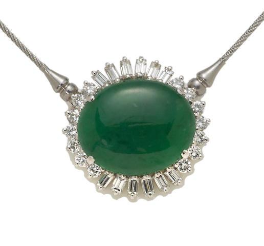 A jadeite jade and diamond pendant/necklace