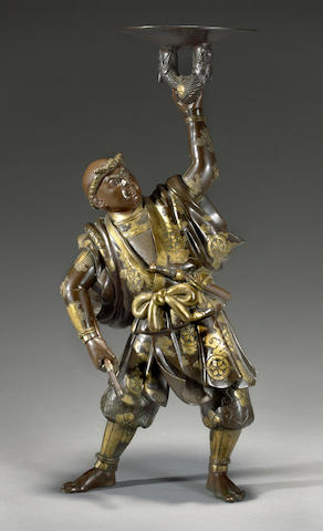 A Miyao-style patinated bronze figure<BR />Meiji period