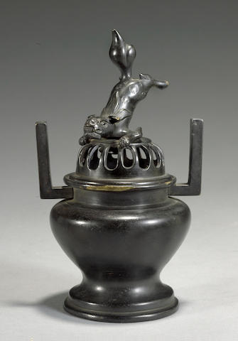 A patinated bronze koro <BR />19th century