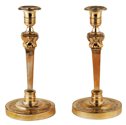 A pair of Empire 950-standard silver gilt candlesticks Garreau, Paris, 1809-19