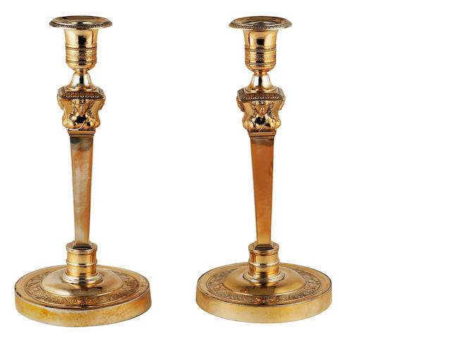 A pair of silver gilt candlesticks, Garreau, France