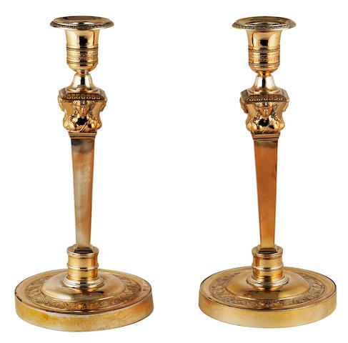 A pair of silver gilt candlesticks, Garreau, France