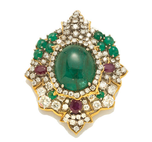 An emerald, ruby and diamond pendant/brooch