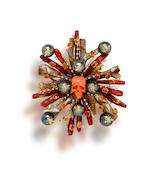 A coral, fire opal, cultured pearl and diamond brooch, Tony Duquette