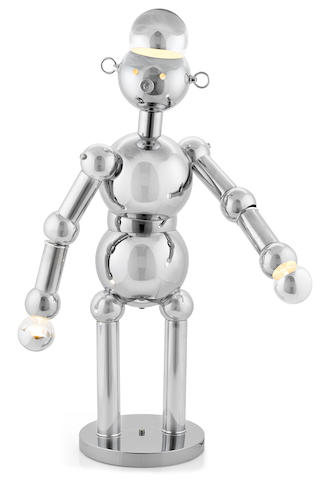 A Torino chromed metal robot lamp 1970s