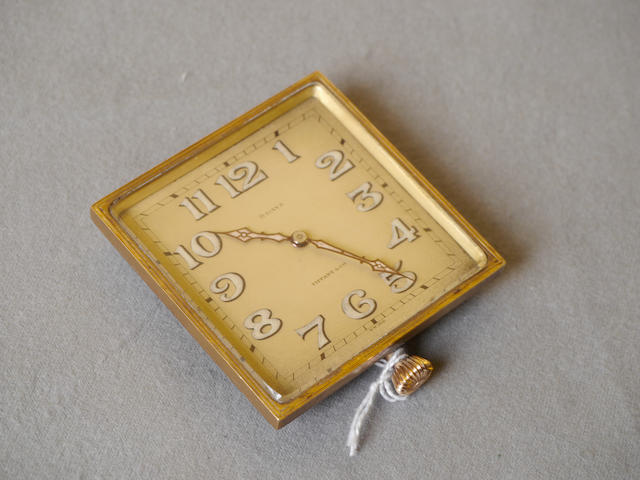 A good, square Tiffany & Co. 8 day clock,