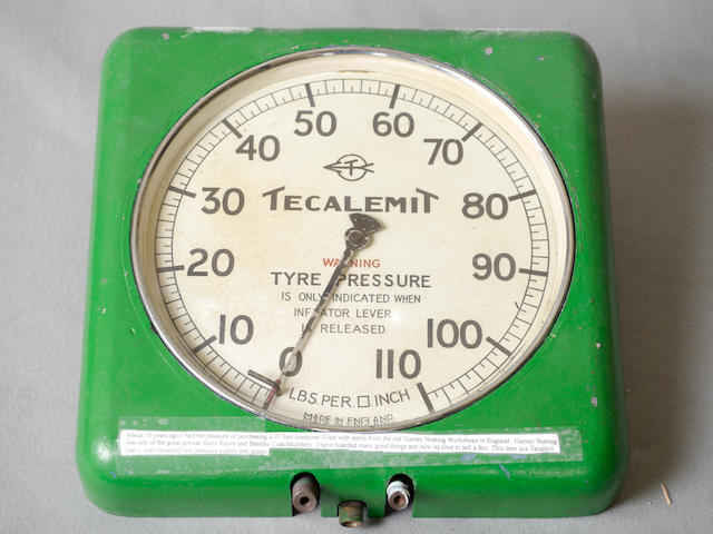 A Tecalemit heavy wall mounted tire pressure supply and gauge,