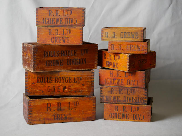 A quantity of eleven wooden boxes stamped 'Rolls-Royce Ltd., Crewe Division,