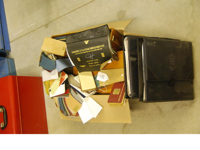 A quantity of Rolls-Royce leather and carpet sample books,