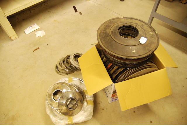 A large quantity of Rolls-Royce aluminum wheel disks and mounting hardware,