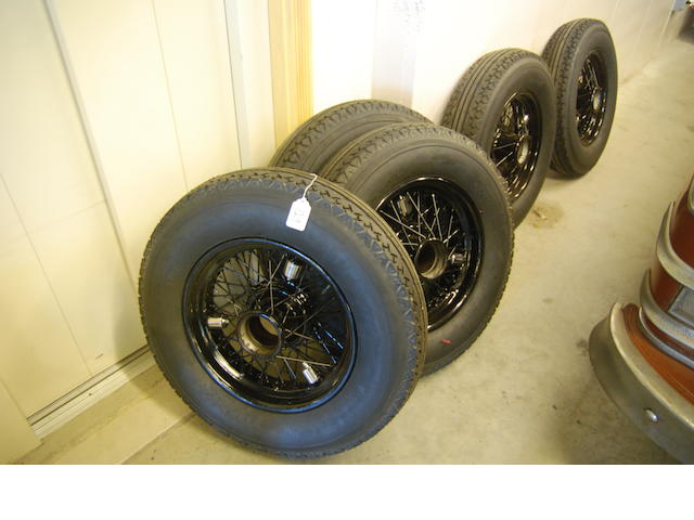 A set of five restored Rolls-Royce Phantom III wheels and tires,